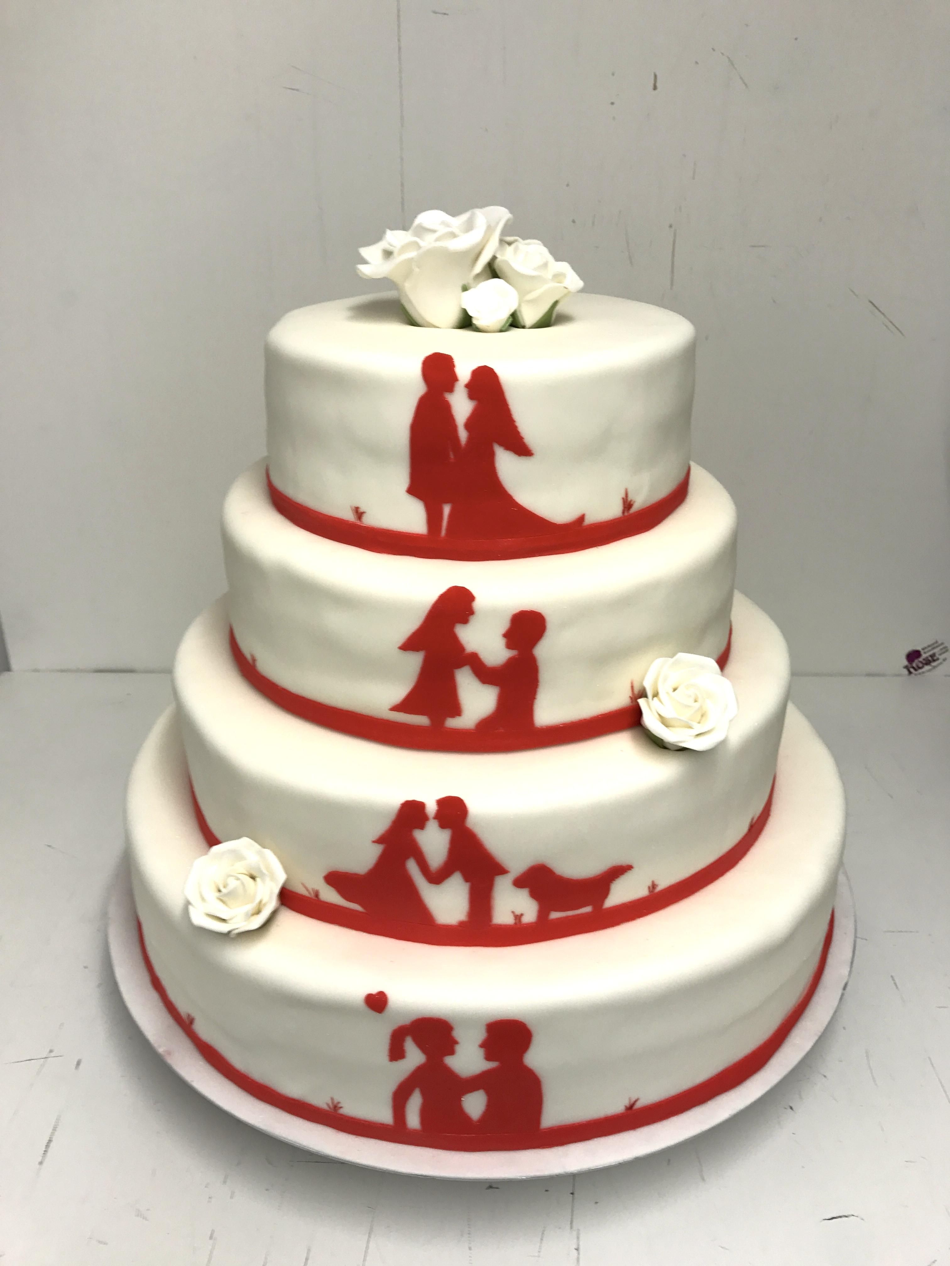 Schattenbild Torte rot Bäckerei Rose Weimar