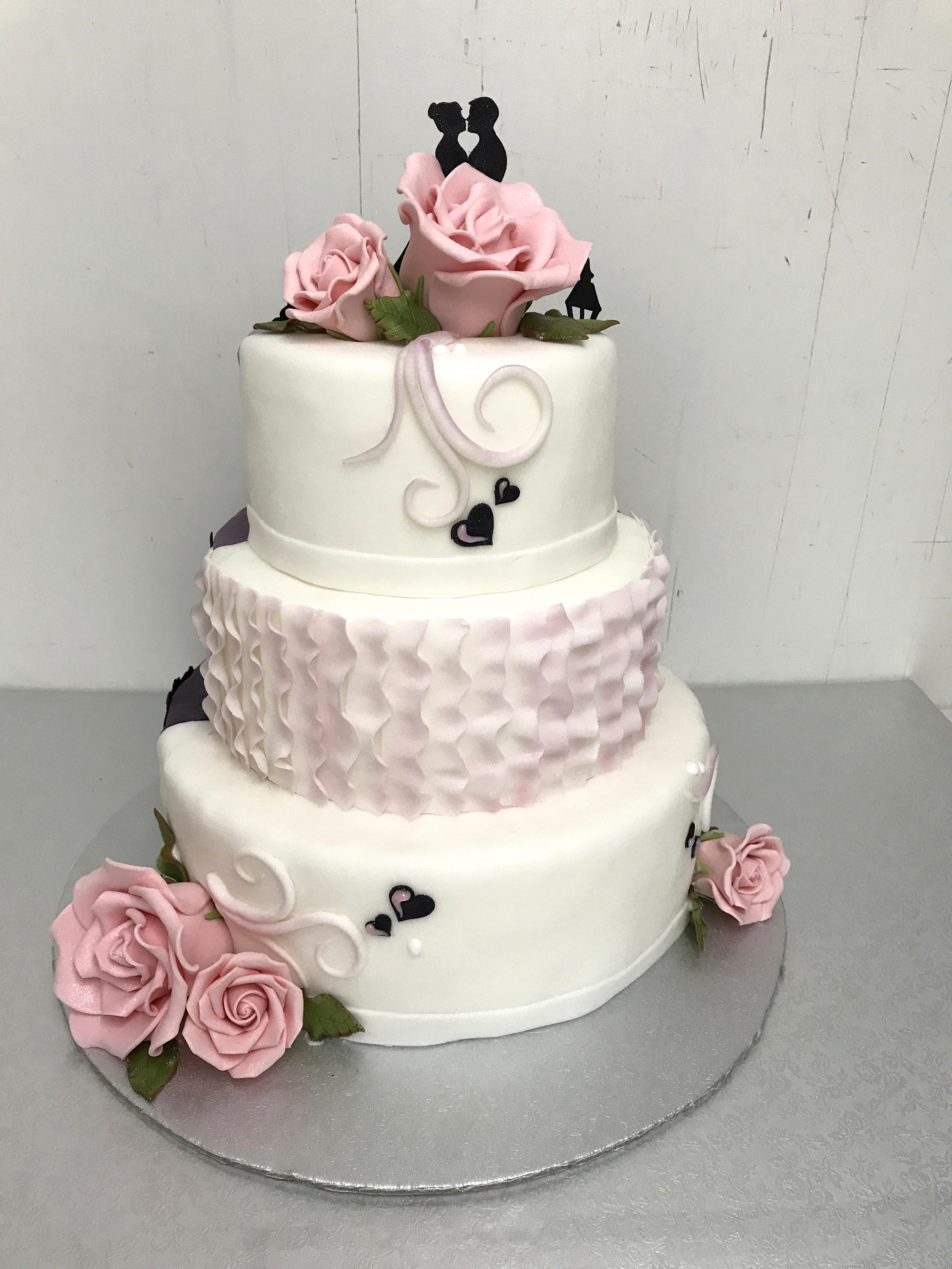 Hochzeitstorte rosa weiß Bäckerei Konditorei Rose Weimar Bild