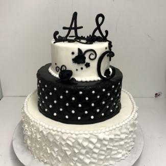 Hochzeitstorte schwarz weiß Bäckerei Konditorei Rose Weimar