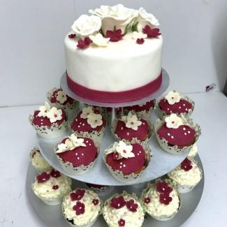 Hochzeitstorte mit Cup Cake Bäckerei Konditorei Rose Weimar