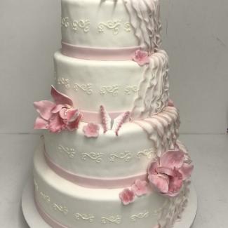 Hochzeitstorte 4 stöckig weiß rosa Bäckerei Rose Weimar