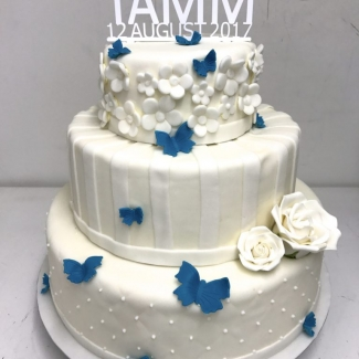 Hochzeitstorte Weiß Blau Bäckerei Rose Weimar Bild