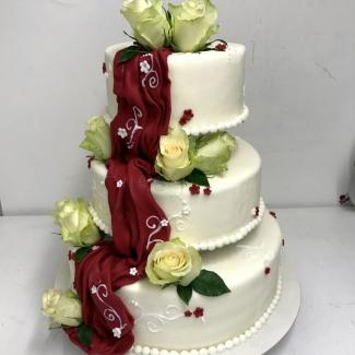 Hochzeitstorte weiß rot Bild Bäckerei Konditorei Rose